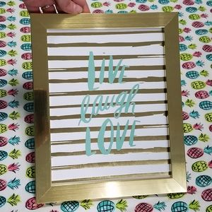 """Other - NWT gold framed Live Laugh Love wall art, 8""""x10"""""""
